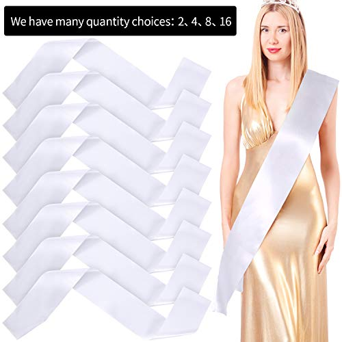 Blank Satin Sash Party Accessory for Wedding, Party Decorations and DIY, White (2)]()