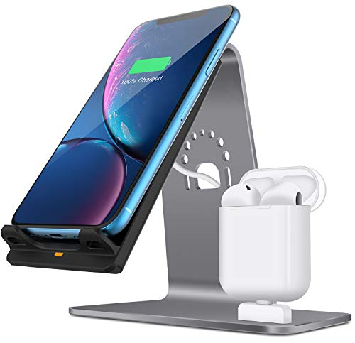 2 in 1 Aluminum Airpods Charging Station, Qi Fast Wireless Charger Dock for iPhone X/8 Plus/8/Samsung S8 and Other Qi-Enabled Devices, Grey(Airpods Charging Case NOT Included)-Grey