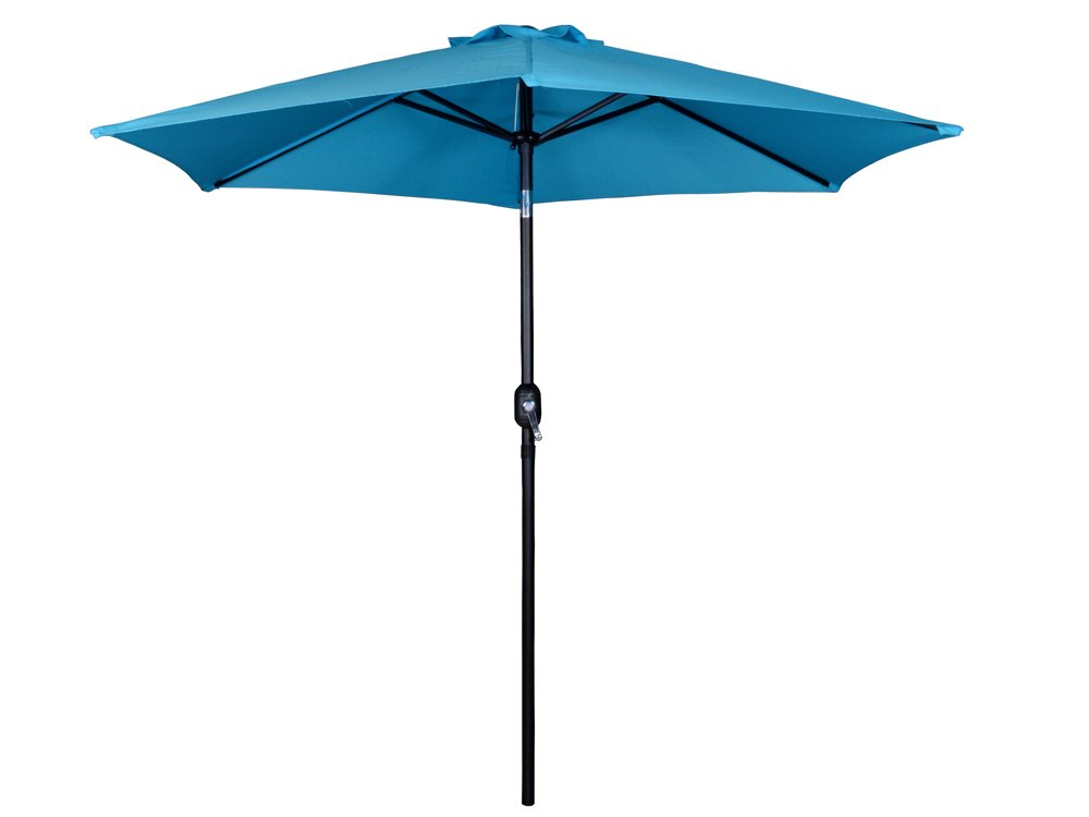 TMS Beach Umbrella Aluminum Outdoor Beach Patio 9Ft Crank Tilt Yard Hexagon Shaped Umbrella,Blue