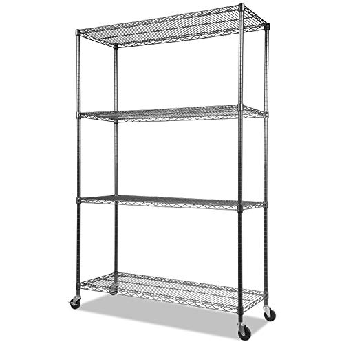 Alera Complete Wire Shelving Unit w/Caster, 48 x 18 x 72, Black Anthracite
