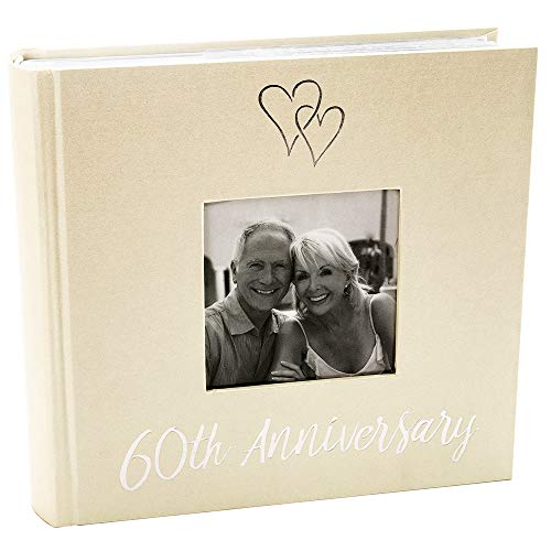 Haysom Interiors Lovely Diamond 60th Wedding Anniversary Photo Album with Double Heart Decoration - Inner Lining Pages to Personalize by Happy - Paper Diamond Wedding Anniversary