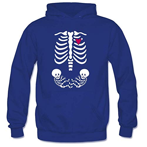 Bart Perkin Men's Skeleton Maternity Xray Twins Male Hooded Sweatshirts XL Royal Blue