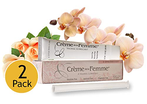 (Crème De La Femme 2-Pack, Vaginal Dryness Cream Created by a Woman Doctor, Natural Menopause Dryness Remedy, Lubricant No Yeast Infection, Free Applicator Included)