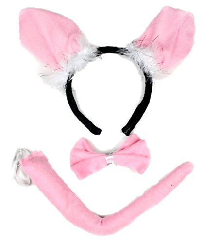 [Little Pig Headband Bowtie Tail 3pc Costume for Child Halloween or Party Use] (Little Pig Costumes)