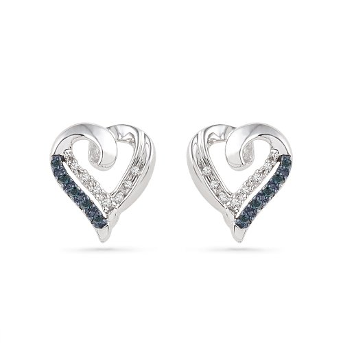 Sterling Silver Blue and White Round Diamond Heart Earrings (1/10 (Diamond Single Earring)