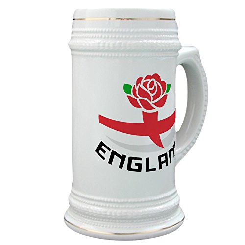 CafePress - Rugby England Rose - Beer Stein, 22 oz. Ceramic Beer Mug with Gold Trim (England Rugby Cross)