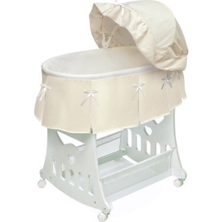 NEW 2-in-1 Waffle Pleated Portable Bassinet'n Cradle with Toy Box Base (2 N 1 Bassinet Cradle)