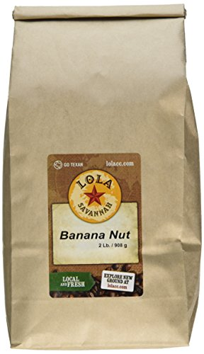 Lola Savannah Banana Nut Ground Coffee - Arabica Beans Blended with Sweet Ripe Bananas and a Dash of Hazelnut Flavor | Caffeinated | 2lb - Sweet Blended Coffee
