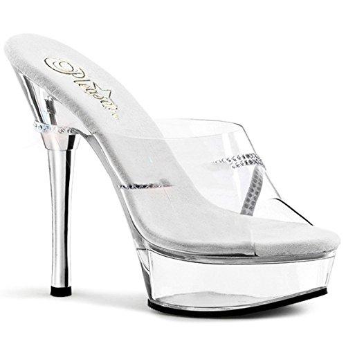 Pleaser Allure-601R Sexy Plateau High Heels Sandaletten mit Strass Transparent 35-44