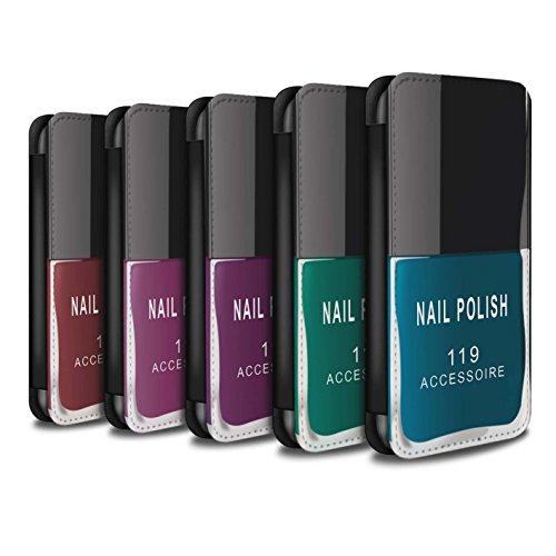 Stuff4 Coque/Etui/Housse Cuir PU Case/Cover pour Apple iPhone 7 Plus / Pack 5pcs Design / Vernis à Ongle/Maquillage Collection