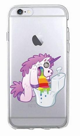 Coque Iphone 7 : Licorne Tête dans toilettes Arc en ciel (livraison gratuite en France) Phone Tattoo©