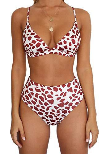 BTFBM Women Casual Leopard Printed Triangle High Waisted Two Piece Bikini Set (Style 4, Medium)