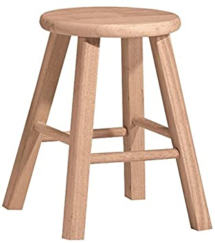 International Concepts 1S-518 18-Inch Round Top Stool, Unfinished