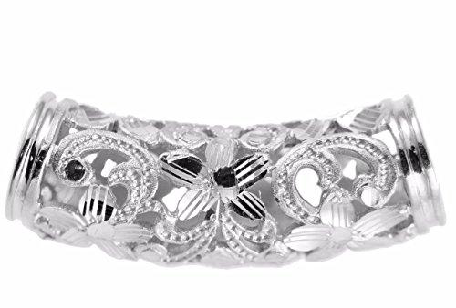 Arthur's Jewelry 14K solid white gold Hawaiian diamond cut plumeria scroll barrel slide pendant