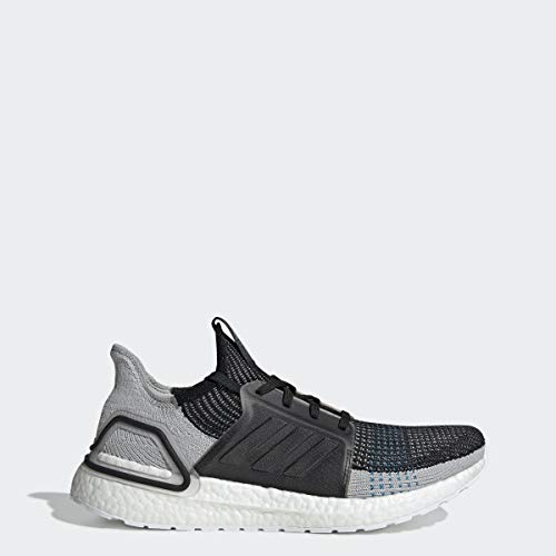 adidas Men's Ultraboost 19 Running Shoe, black/grey six/shock cyan, 9.5 M US