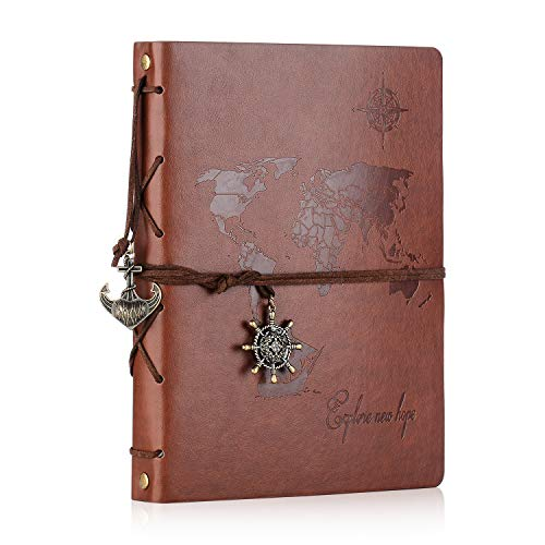 Scrapbook,SEEHAN Travel Leather Photo Album''World Map''Vintage DIY Self Adhesive Photo Book Retro Sketchbook 60 Pages Unique Valentines Birthday Anniversary Gifts for Father Boyfriend(Map Brown) by See han