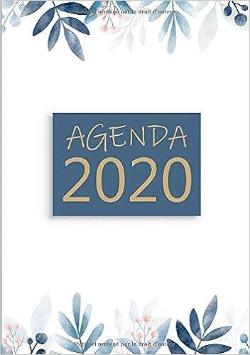 Calendrier Agenda 2020.Agenda Semainier Petit Format A5 Motif Fleur Bleu Rose