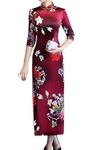 Evening Printing Out Cut Pattern9 Oversized Cheongsam Women Dress Coolred Chinese qSfHRBR