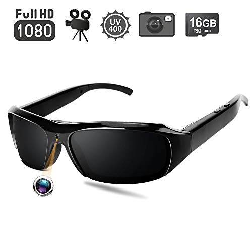 1080P HD Sunglasses Hidden Camera – Video Recording Spy Eyeglasses Plus Photo Taking Function, UV400 Polarized Glasses, 16GB Memory Card Built-in