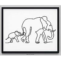 "Elephant Wall Decor - 14x11"" UNFRAMED Print - Modern, Minimalist, Black & White Single Line Elephant Wall Art - Baby Nursery Elephant Wall Decor For Boys And Girls"