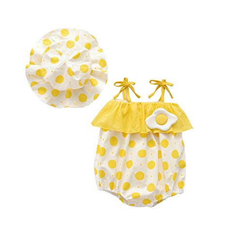 Newborn Infant Baby Girl Clothes Cotton Romper Jumpsuit Ruffled Strap Halter Bodysuit with Hat Summer Outfit (12-24M, Yellow) (25 Inch Yellow Body)