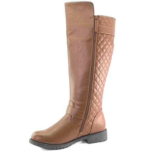 Quilted Tan Women's High DailyShoes Rider Knee Pocket with Toe Side Combat Round 4165q