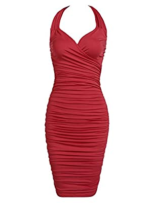 Bifast women Sexy V Neck Halter sleeveless Bodycon ruched Ruffle Cocktail midi vintage Dress