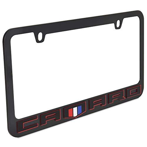 Eurosport Daytona, Inc. Black License Plate Frame- 2018 Chevrolet Camaro Black Word with Shield