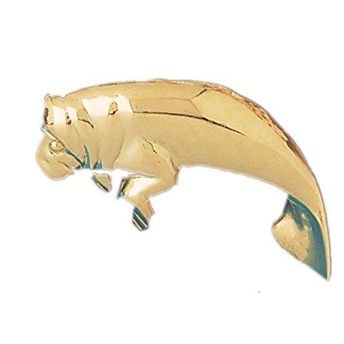 14K Yellow Gold Manatee Pendant - 27 mm (Gold Manatee Yellow 14k)