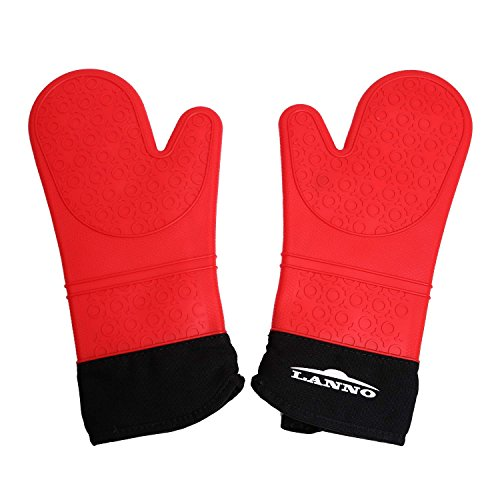 Silicone Oven Mitts, Large Grilling Cooking Gloves, Pot holders with Extra Long Quilted Cotton Lining, Up to 450 F Heat Resistant - 1 Pair (Red) -LANNO (Oven Mit Small compare prices)