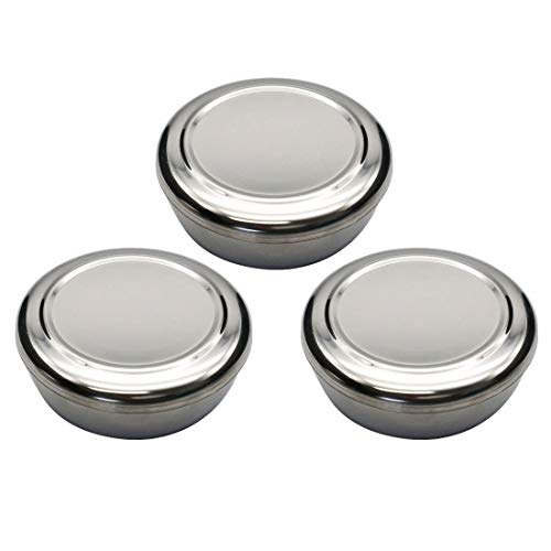 Korean Traditional Stainless Steel Good Fortune Rice Bowl with Lid Set (Silver ()
