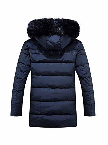 Faux Mens OCHENTA Coat Winter Dark Blue Fur Outdoor Hood Trim Windproof Padded Jacket TAUUxw