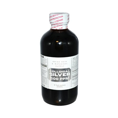 Amino Acid and Botanical Supply Colloidal Silver, 500 PPM, 8 Ounce