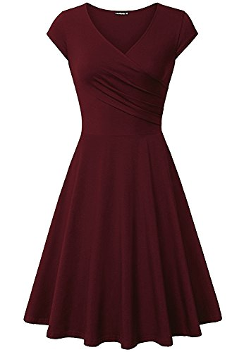 [LouKeith Women Shaped Vintage Flared Swing Dress Cocktail Party Evening Dress Wine 2XL] (Plus Size Evening Wear)