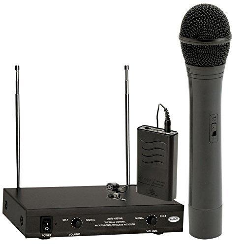 Ahuja Cordless Dual Handheld+Lapel MIcrophone Awm490Vhl