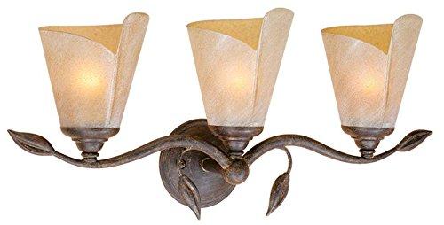 Vaxcel CP-VLU003BW Capri 3 Light Vanity Light, Black Walnut Finish Leaf 3 Light Vanity