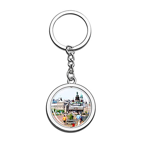 Keychain Old Montreal Canada Keychain 3D Crystal Spinning