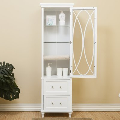 Linen Tower Made of Wood and Glass for Lasting Durability with Door Magnet With Drawers and Shelves Behind Door White Color Bathroom Cabinet Furniture by GAShop