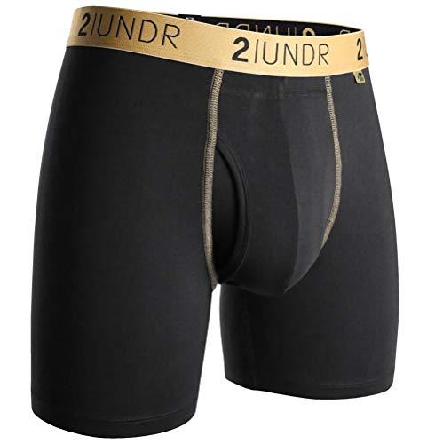 2UNDR Men's Swingshift Boxers,Black/Gold,Large