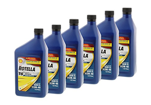 : Shell Rotella T6 Full Synthetic Heavy Duty Engine Oil 5W-40, 1 Quart, Pack of 6
