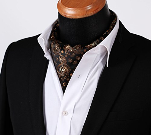Orange Ascot Floral Set Jacquard Black HISDERN Woven Men's 6qYUZ