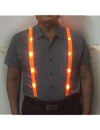 Light up Suspenders , LEDsling neon men and women sling,Colors Optional (Orange)