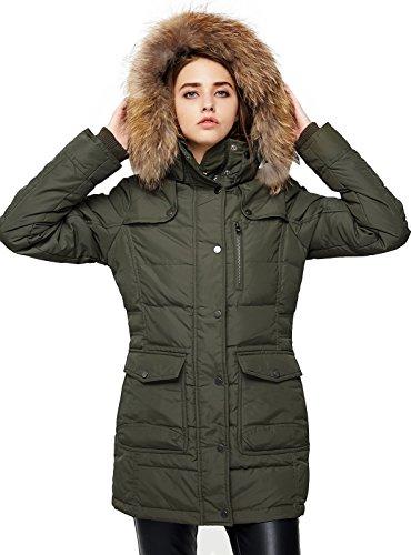Escalier Women`s Down Coat With Raccoon Fur Hooded Winter Jacket Army Green XL by Escalier (Image #1)