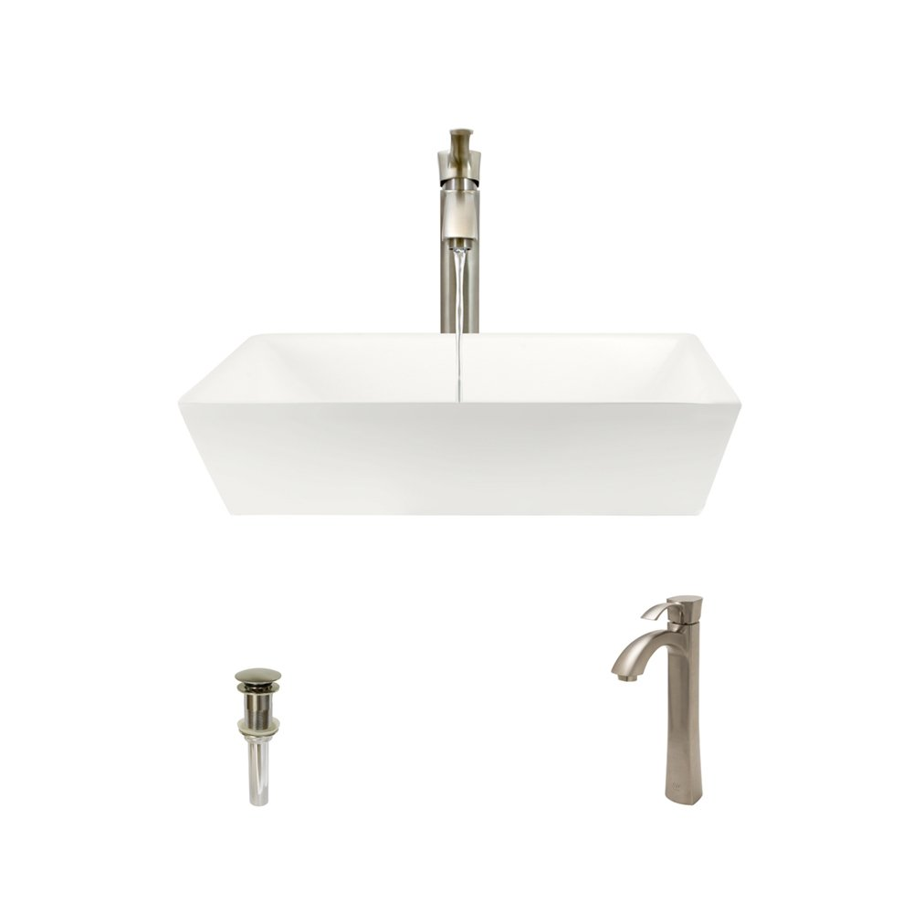 V370-Bisque Porcelain Vessel Sink Brushed Nickel Ensemble with 726 Vessel Faucet Bundle – 3 Items Sink, Faucet, and Pop Up Drain