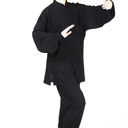Black Cotton Martial Arts Tai Chi Uniforms Wu Shu Wing Chun Suit XXXL