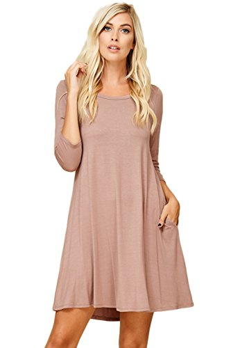 Annabelle Women's Relaxed 3/4 Sleeve Scoop Neck Solid Flowy A-Line Mini Length Dress with Two Side Slant Pockets Taupe Grey Medium D5211 ()
