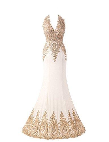 HarveyBridal Backless Gold Lace Crystal Formal Evening Dress Mermaid White