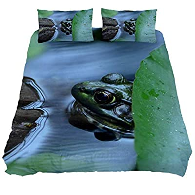 DEYYA Queen Size Lovely Animal Tree Frog Green Soft Breathable Bedding 3 Piece Sets Microfiber Duvet Cover Sets with Zipper Closure Corner Ties for Men Women Kids Teens: Home & Kitchen