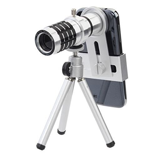 Phone Camera Lens Kit 12x Optical Zoom Universal Smartphone Telephoto Telescope Lens with Tripod Sliver (12x lens + tripod)