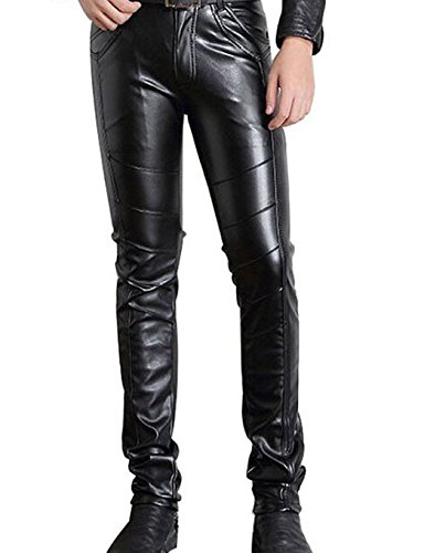 Idopy Men`s Black Slim Fit Soft PU Faux Leather Biker Pants 34 -